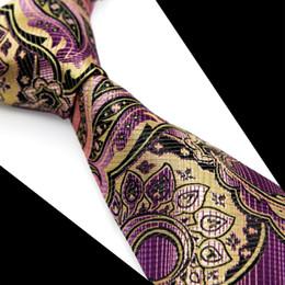 T085 El Mens floral rosado púrpura multicolor empaqueta las correas El telar jacquar de seda del 100% tejió el negocio ocasional casado de la boda del envío libre formal desde lazo formal de color rosa fabricantes