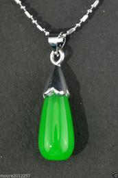 beautiful genuine green jade teardrop pendant Necklace