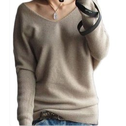 Senhoras casual jumpers à venda-Atacado-Casual V-Neck Sweater Mulheres Sexy Pullover Long Sleeve Pull Cashmere Pull Knitted Preto Plus Size 3XL Ladies Tops