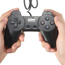Pc joystick en venta-Negro USB 2.0 Cableado Gamepad Joystick Joypad Gamepad Controlador de juegos para PC Ordenador portátil para XP / para Vista