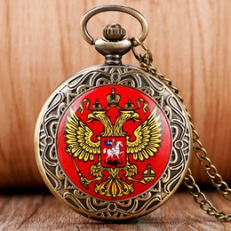 2017 gros national Vente en gros-Nouvelle Arrivée Vintage russe emblème national Double aigle tête Brave Souvenir Quartz Pocket Watch Collier russe Pocket Watch gros national ventes
