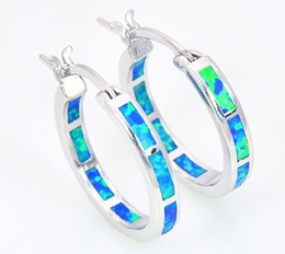 Wholesale & Retail Fashion Blue &White & Red Multicolour Fine Fire Opal Earrings 925 Silver Plated Jewelry EJL1631004