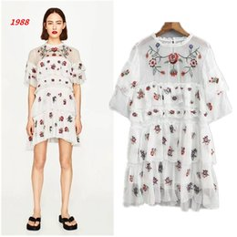1988 women's spring and summer women's new models, white gauze, chiffon, flowers, layers of embroidery, dress, skirt