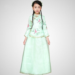 Wholesale Q228 New Arrival Children Chinese Traditional Costume Top skirt Girl Chinese Ancient Costume Kids Hanfu Wedding Clothing