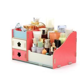 Almacenamiento de maquillaje de madera en Línea-Caja De Madera De Almacenamiento De Joyería Container Maquillaje Organizador Case Handmade DIY Asamblea Cosmética Organizador Caja De Madera Para Oficina