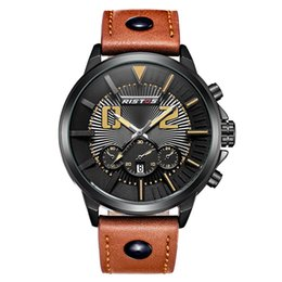 Luxury fashion men's sports waterproof watch calendar leather watch with quartz core for free delivery