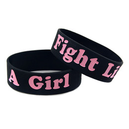 Wholesale 50PCS Lot Breast Cancer Awareness Wristband Fight Like A Girl Silicone Bracelet 1 Inch Wide Bangle