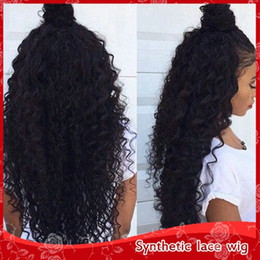 Cheap Sexy 150%-180% Density Natural Black Afro Kinky Curly Wigs with baby hair Glueless Synthetic Lace Front Wigs for Black Women