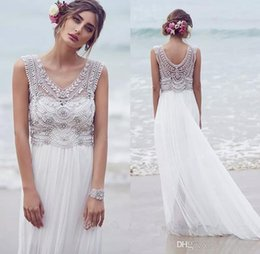 Princess 2019 Bohemian Wedding Dresses Beading Pearls Stretch Chiffon Boho Beach Bridal Gowns Garden Wedding Gowns Custom Vestidos De Novia