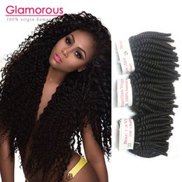 Glamorous Mongolian Kinky Curly Hair Weave 3 Pieces Natural Black Peruvian Brazilian Malaysian Indian Virgin Hair Kinky Curly Hair Extension
