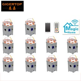 Factory Direct Sales 10 Pack Battery Remote Control LED Par Can 6x5W RGBAW 5IN1 2.4G Wireless Transmitter Receiver  Mobile APP