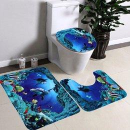 Wholesale Hot Sale Sea World Designed Livingroom Hallway Carpet Pedestal Rug Mat Set Toilet Seat Cover