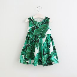 Wholesale 2017 New Girls Banana Leaves Print Bow Vest Dress Kids Girl Princess Holiday Party Green Color Dresses Western