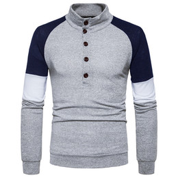 Free Shipping US Size S-2XL High Quality 2017 autumn new male line button Heng collar hit color cultivating long-sleeved knit sweater