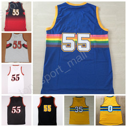Hot 55 Dikembe Mutombo Jersey Throwback Men 35 Kenneth Faried 0 Emmanuel Mudiay Basketball Jerseys Red Blue White Black with player name