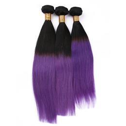 New Arrival #1B Purple Straight Virgin Human Hair Violet Ombre Hair Bundles 3Pcs lot Unprocessed 2 Tone Hair Weaves Free Shipping