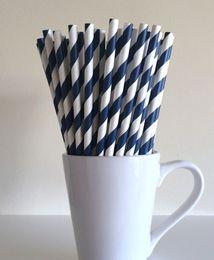 Wholesale Navy Blue Striped Paper Straws Party Supplies Party Decor Bar Cart Accessories Cake Pop Sticks Mason Jar Straws Graduation Party