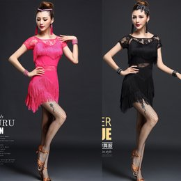 Women Ballroom Competition Latin Dance Dress Red Sequins Costume Set Outfits Fringe Salsa Ballroom Dance Dress for Girls