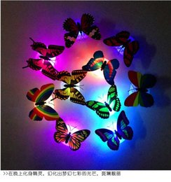 Top sale Colorful Changing Butterfly LED Night Light Lamp Decorative luminous butterfly can paste for Home Room Party Desk Wall