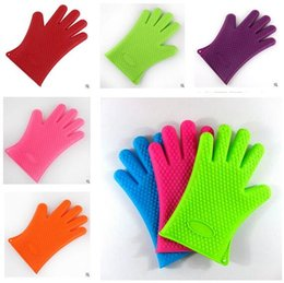 Wholesale Bake Silicone Gloves Heat Resistant BBQ Oven Mitts Anti Slip Grip Best for Microwave Grilling and Baking Fingers Home Gloves Cooking