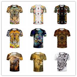 2017 ropa tatuado 2017 Camiseta de la camiseta del cuello de O de las camisetas de la ropa, Multi coloreó el gráfico creativo abstracto / lagarto Iguana / león de la selva / camiseta del cráneo del tatuaje M436 presupuesto ropa tatuado