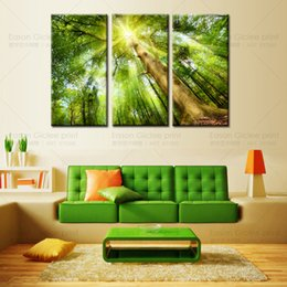 Hot sell wall decor painting of sunshine through woods wall pictures for living room home decoration wall art cheap modern paintings