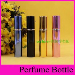 Wholesale 7ml perfume bottle aluminum pipe bright bottles atomizer Spray Travel glass Refillable bottle colors black blue rose gold