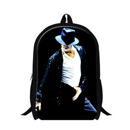 2017 mens multi function Vente en gros - Cool Rock Sac à dos Michael Jackson 3D Imprints Sac à dos pour hommes Sacs à bandoulière multifonctions Sac bandoulière Pop MJ Children Boys School Bag mens multi function pas cher