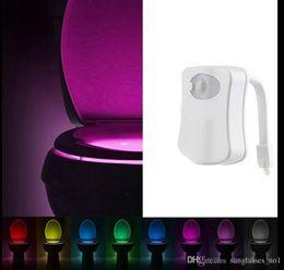 Wholesale LED Motion sensor toilet night light Colors Bathroom Toilet Night Light Bowl Bathroom LED Lamp Sensor Lights KKA1040