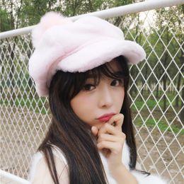 Wholesale DT793 Korea Women Newsboy Caps Warm Solid Color Octagonal Cap Winter Plain Beret Cap Hat for Female Big Pompom Ball Artist Cap