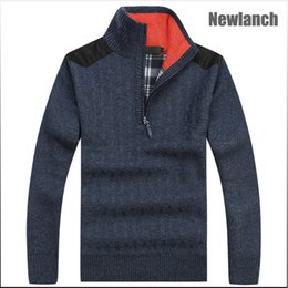 Wholesale Men s Sweaters Thick Warm Winter Zipper Pullover Cashmere Wool Sweaters Man Casual Knitwear Fleece Velvet Clothing and have Big Size XXXL