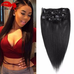 Hannah product Straight Clip In Hair Extensions Full Headi Clip In Human Hair Virgin Brazilian Straight Clip In Hair