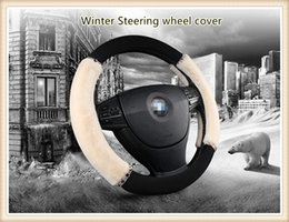 Winter Plush Universal automobile Steering wheel cover with diamond for 38cm car styling