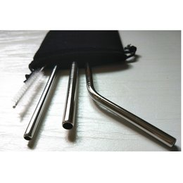Wholesale 6mm Metal Straight Pipes for oz Yeti Tumbler Rambler Cups Beer Mug Suckers Stainless Steel Drinking Pipes pc Per OPP Bag