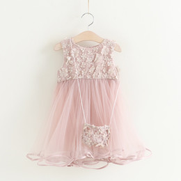 2017 robes en tulle sans manches Everweekend 2017 Filles Tulle Lace Flower Brodé Robe Ruffles avec Cross Body Bag Sweet Baby Summer Party Vêtements robes en tulle sans manches à vendre