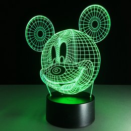 Pièce sept en Ligne-Livraison gratuite Mickey Mouse préféré de l'enfant 3d led Night Light lamp Seven Colors Warm Baby Room Nouveauté Night Light