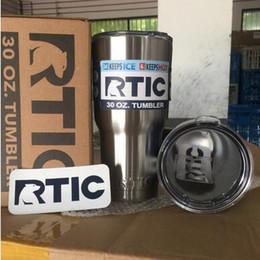 Acheter en ligne Eaux fraîches-RTIC Cups Double Wall Vacuum Isolé Car Cups Mugs en acier inoxydable 30 oz Cooler Bilayer Isolation Bouteilles d'eau Tasses CCA5914 50pcs