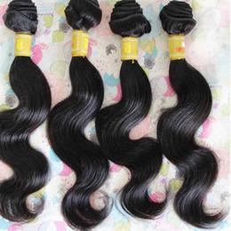 Acheter en ligne 18 black hair-Brésilien Body Wave Virgin Human Hair Weave Bundles 8A Unprocessed Peruvian Malaysian Indian Hair Extensions Double Weft Natural Black