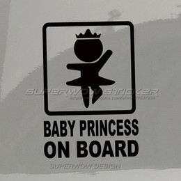 Wholesale BABY PRINCESS ON BOARD Personalized car sticker Door Sticker Body stickers Reflective Waterproof Personalized decals PET Colorful