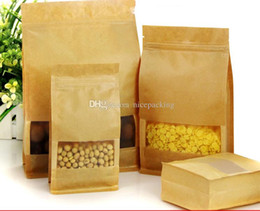 nice quality Eight Sides Moisture-proof Bags,Kraft Paper with Visaul Window, Ziplock Packaging Bag for Snack Candy Cookie free shipping