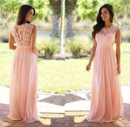Blush Sage Lace Applique Chiffon Bridesmaid Dresses 2017 Jewel Sleeveless Wedding Guest Dress Sheer Back Zipper Long Cheap Bridesmaids Gown