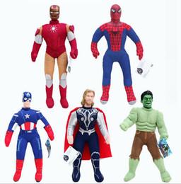 2017 superhéroes juguetes de peluche 40cm Super Hero Muñecas Suaves El Hulk Thor Hombre Araña Hombre De Hierro Capitán América Peluche Muñecas Juguetes Peluches Dibujos Animados Plush Juguetes Q0661 económico superhéroes juguetes de peluche