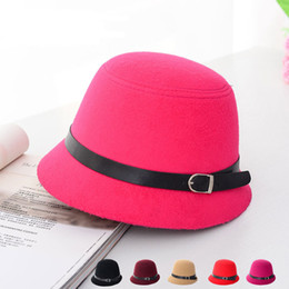 8 Colors Spring Winter Lady Top Hats Fashion Women Bucket Hats Felt Trilby Hat Female Stingy Brim Hats GH-39