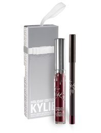 Wholesale Kylie Cosmetics Lip Kit Vixen Merry Holiday Edition Matte Liquid Lipstick and Pencil Lip Liner Pre sell limited edition silver package