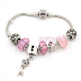 New Arrival Newest Breast Cancer Awareness Jewelry European Bead Charm Lampwork Murano Grass Bead Pink Ribbon Breast Cancer Bracelet Jewelry