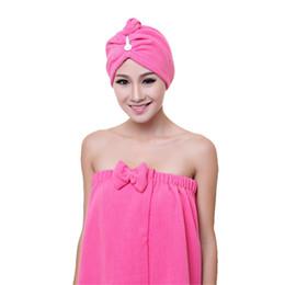 Acheter en ligne Cheveux amicale-Vente en gros - 1PC Mode Femmes Absorbant Microfiber Serviette Turban Hair-Drying Cap Bathrobe Chapeau qualité d'abord