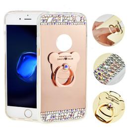 Anillo de metal espejo en venta-TPU suave Wtih Rhinestones Espejo anillo de metal caso para el iPhone 7 7plus 6G 6PLUS S6EDGE S7 J7prime Electropalting teléfono caso