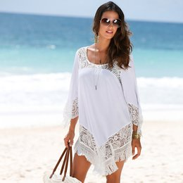 2017 New Style Women Dress White Lace Chiffon Tassels Casual Beach Dress O-Neck Mini Asymmetric Dresses Bikini Cover-Ups ZSJG0525
