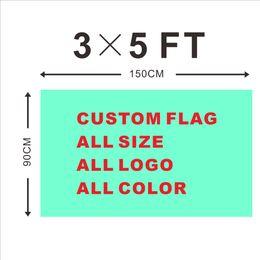 Wholesale Design Custom Flag X90cm x5FT D Polyester All Logo Any Colors Banner Fans Sport Custom Flags