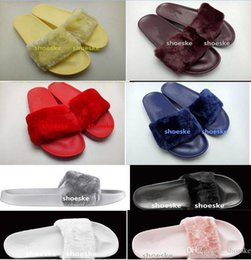 Wholesale With dust bag red box leadcat Fenty rihanna slippers indoor shoes sandals sliding wear fashionable men and women nine color